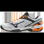 Chaussures Tennis Mizuno WAVE EXCEED CC Blanc / Noir / Orange Homme