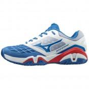 Chaussures Tennis Mizuno WAVE INTENSE TOUR 3 CC Blanc / Bleu / Rouge Homme