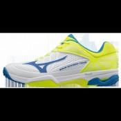 Chaussures Tennis Mizuno Wave Exceed Tour 2 AC Blanc / Bleu / Jaune Homme