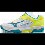 Chaussures Tennis Mizuno Wave Exceed Tour 2 CC Blanc / Bleu / Jaune Femme