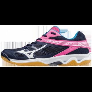 Chaussures Volley Mizuno Thunder Blade Blanc / Bleu / Orange Femme