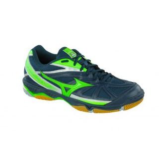 Chaussures Volley Mizuno Wave Hurricane 2 Bleu / Gris / Vert  Homme