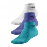 Mizuno Lot Chaussettes Training Mid Blanc / Bleu / Violet Running Femme