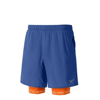 Mizuno Short Mujin Square 7.5 2in1 Bleu / Orange Trail Trail Homme