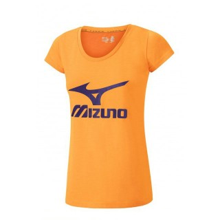 Mizuno T-shirt Big Logo Orange Outdoor Femme
