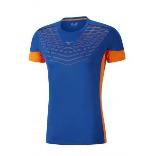 Mizuno T-shirt Cooltouch Venture Bleu / Orange Running  Homme