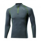 Mizuno T-shirt Merino Wool 1/2 zip  Gris / Vert  Outdoor