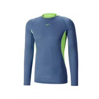 Mizuno T-shirt Merino Wool col rond  Bleu / Vert  Outdoor