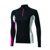 Mizuno T-shirt Virtual Body G1 1/2 zip  Breath thermo  Noir / Rose Outdoor