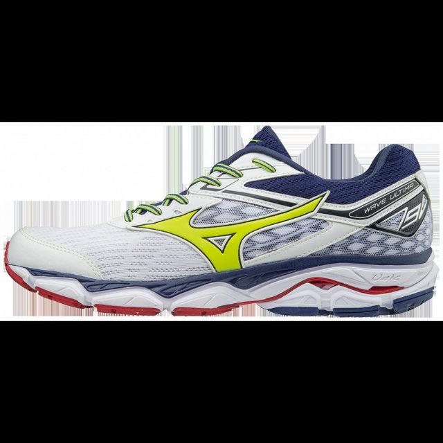 cheap for discount 3a295 7547b Chaussures Running Mizuno Wave Ultima 9 Blanc   Bleu   Jaune Homme