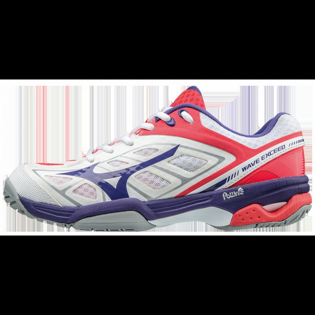 Chaussures Tennis Mizuno WAVE EXCEED AC Blanc / Rose / Violet Femme