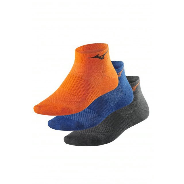Mizuno Lot Chaussettes Training Mid Bleu / Noir / Orange Running Femme