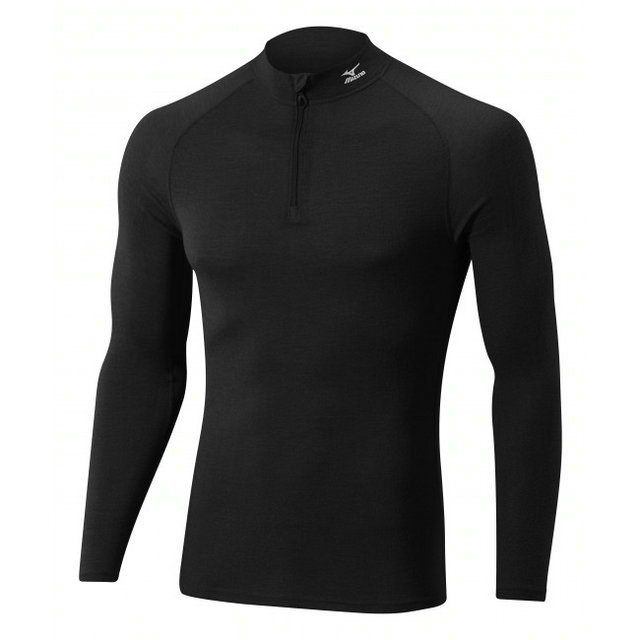 Mizuno T-shirt  Breath thermo Active col zippé Noir Outdoor
