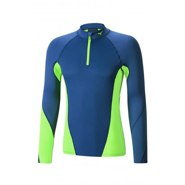 Mizuno T-shirt Virtual Body G1 col zippé Bleu / Vert  Outdoor