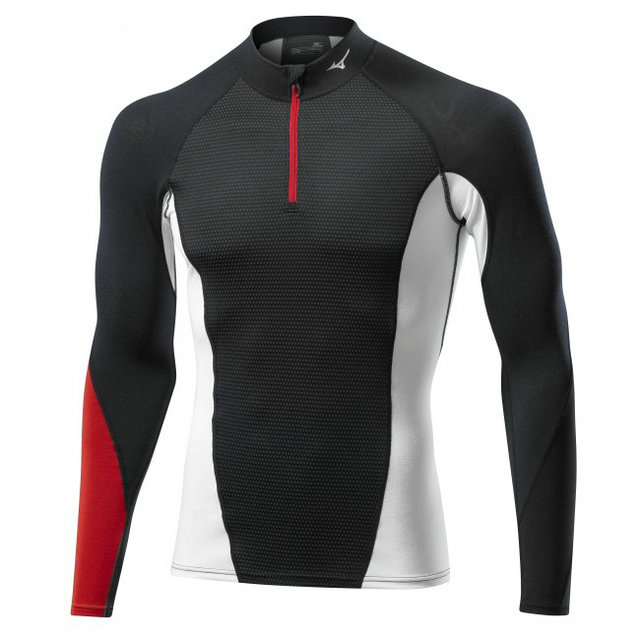 Mizuno T-shirt Virtual Body G1 col zippé Noir / Rouge Outdoor