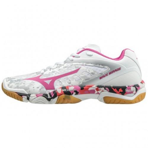 Chaussures Handball Mizuno Wave Mirage 2 Blanc Bleu Rose