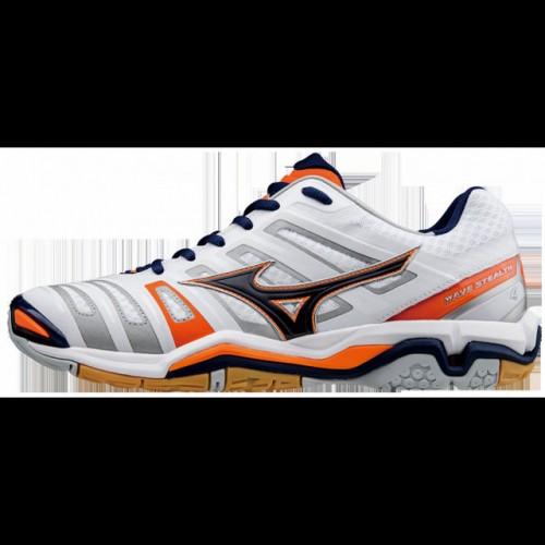 34c6b73c41b1f9 Chaussures Handball Mizuno Wave Stealth 4 Blanc / Bleu / Orange Homme
