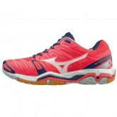 Chaussures Handball Mizuno Wave stealth 4 Blanc / Bleu / Rose Femme