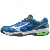 Chaussures Tennis Mizuno WAVE EXCEED AC Blanc / Bleu / Vert  Homme