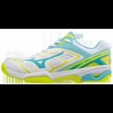 Chaussures Tennis Mizuno Wave Exceed AC Blanc / Bleu / Jaune Femme