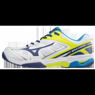 Chaussures Tennis Mizuno Wave Exceed AC Blanc / Bleu / Jaune Homme