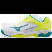 Chaussures Tennis Mizuno Wave Exceed Tour 2 AC Blanc / Bleu / Jaune Femme