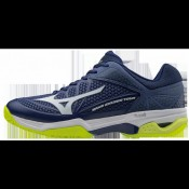 official photos 08afb bacb5 Chaussures Tennis Mizuno Wave Exceed Tour 2 CC Blanc   Bleu   Jaune Homme