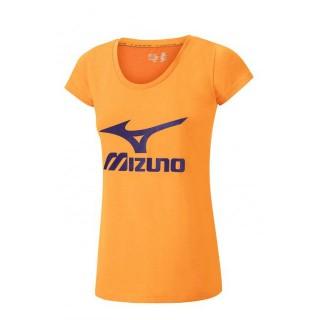 Mizuno T-shirt Big Logo Orange Outdoor Femme