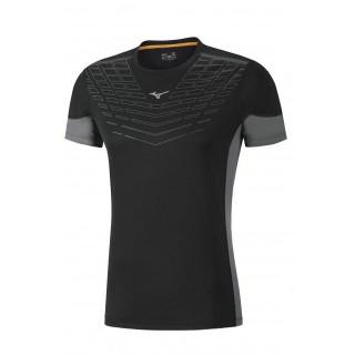 Mizuno T-shirt Cooltouch Venture Gris / Noir Running  Homme