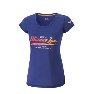 Mizuno T-shirt Heritage Bleu Outdoor Femme