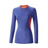 Mizuno T-shirt Merino Whool col rond  Bleu / Rose Outdoor