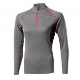 Mizuno T-shirt Merino Whool col zippé Gris / Rose Outdoor
