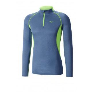 Mizuno T-shirt Merino Wool col zippé Bleu / Vert  Outdoor