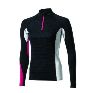 Mizuno T-shirt Virtual Body G1 1/2 zip  Breath thermo  Noir / Rose Outdoor