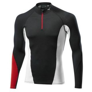 Mizuno T-shirt Virtual Body G1 col zippé Noir / Rouge Outdoor